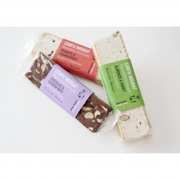 90gr CORFU Nougat with peanuts and cranberries (Mantolato)