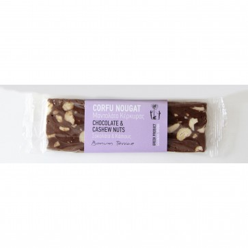 90gr CORFU Nougat with chocolate and kashews (Mantolato)